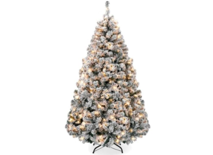 Artificial 9ft Christmas Pine Tree with Warm White Lights