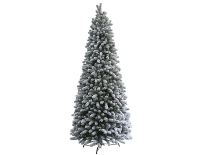 9-foot slim artificial Christmas tree with King Flock King Flock by KING OF CHRISTMAS