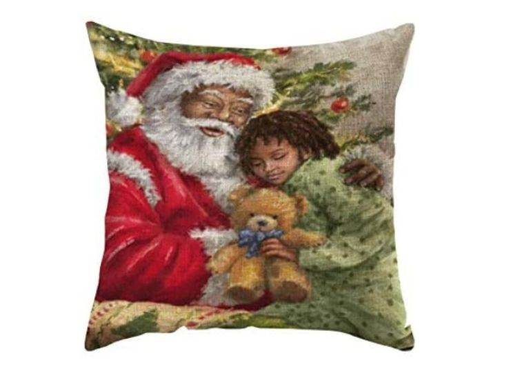 The Decorative Throw Pillow Cover features a Black child with Santa.