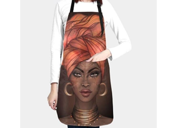 A waterproof apron with roomy pockets for African American women. Great for kitchen BBQ craft drawing.
