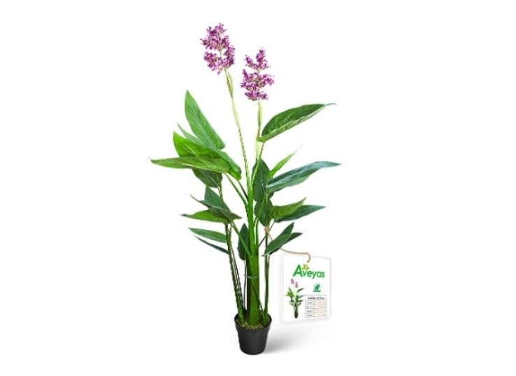 Five-foot tall artificial violet tree with purple flower