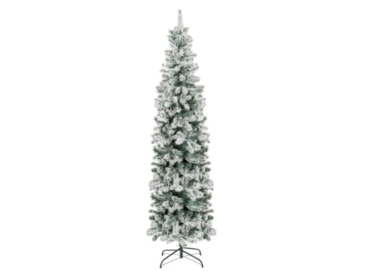 A 7.5 FOOT SNOW-COVERED PENCIL TREE CHRISTMAS DECORATION COMPLETE WITH METAL STAND