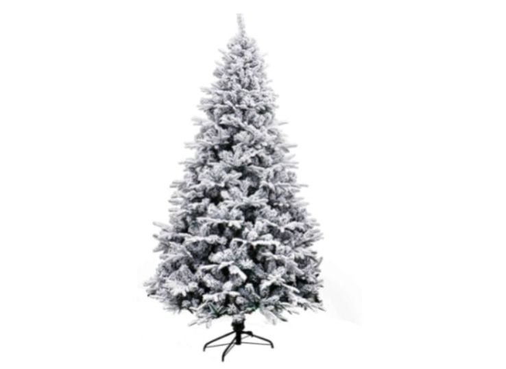 The Deluxe Indoor Artificial Christmas Tree comes in an 8-foot version with snow-covered branches.