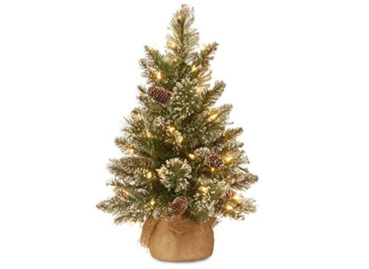 Decorative LED Mini Christmas Tree with White Tipped Branches