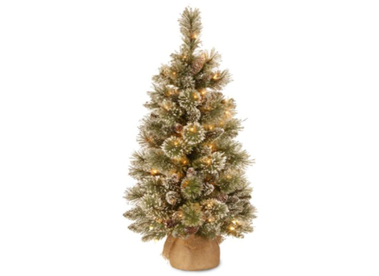 A 3 ft Glittery Bristle Pine Tree with Glittered Branches