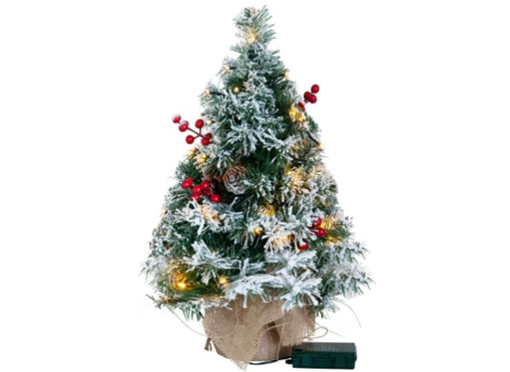 Tabletop Christmas Tree, Snow Flocked Prelit (Battery Operated), best for Christmas decorations